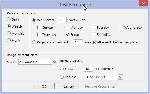 The Task Recurrence box in Outlook.
