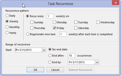 The Task Recurrence dialog box allows you to determine how often the appointment occurs.