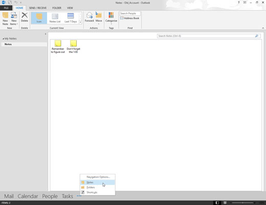 The Notes section on Outlook 2013.