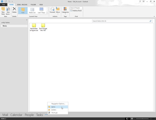 The Notes module in Outlook 2013.