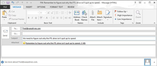 The subject of the note you forward will automatically be used as the subject of the outlook email.