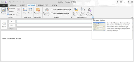 The arrow at the right-down corner of Outlook's command bar.
