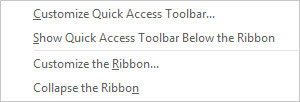Shortcut Menu that appears when you right-click any area of Outlook's command bar.
