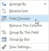 The Shortcut menu appears when you right-click the gray header row in the inbox screen.