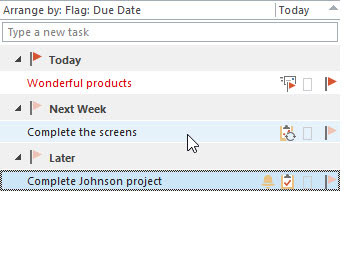The Tasks module in Outlook with every task organized by due date.
