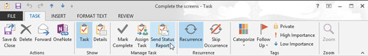 Menu that appears at the top of the screen when you open a task in Outlook.