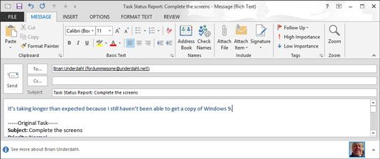 Outlook message with a Task Status Report attached.