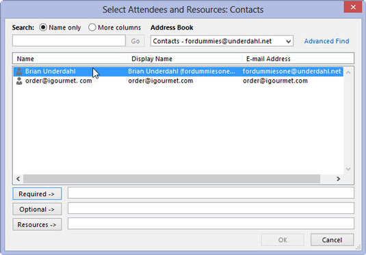 You can add attendees in the Select Attendees and Resources dialog box.