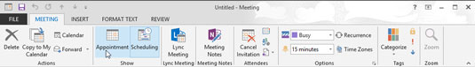 When you choose the time for a meeting, you click the appointment button to finish creating the event.