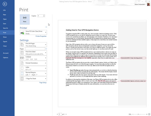 how to print comments in word 2013