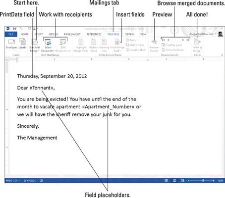 Create a mail merge letter in word 2013 dummies 3type the letter spiritdancerdesigns Image collections