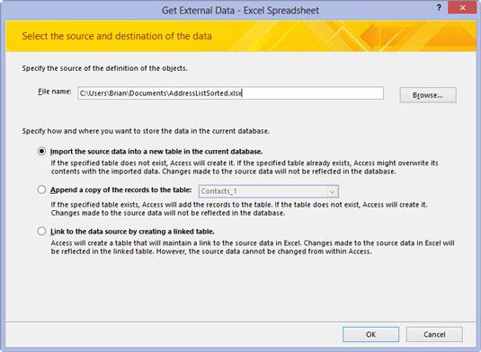 The Get External Data dialog box in Access.