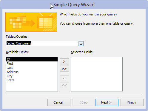Access 2013's Query Wizard.