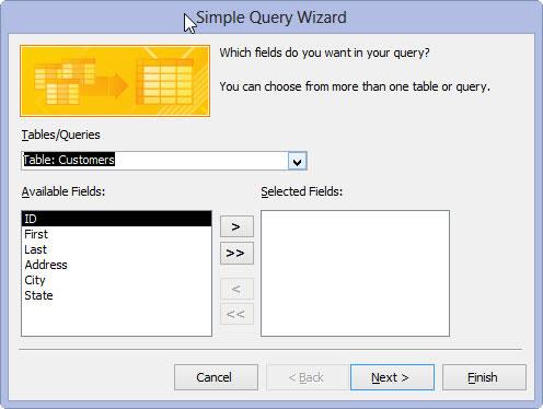 Access 2013's Query Wizard.