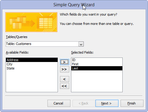 Selecting the fields for a query in Access 2013.