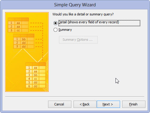 Choosing between a Detail and a Summary query in Access 2013