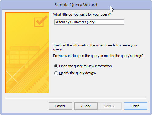 Adding a title to a Query in Access 2013.