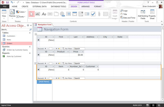 Creating a form in Microsoft Access.