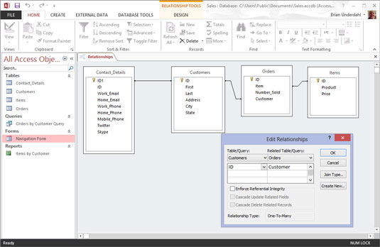 The relationship section in Microsoft Access 2013.