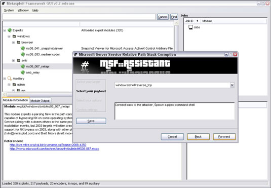 Metasploit launches a window to help you plan the hack.