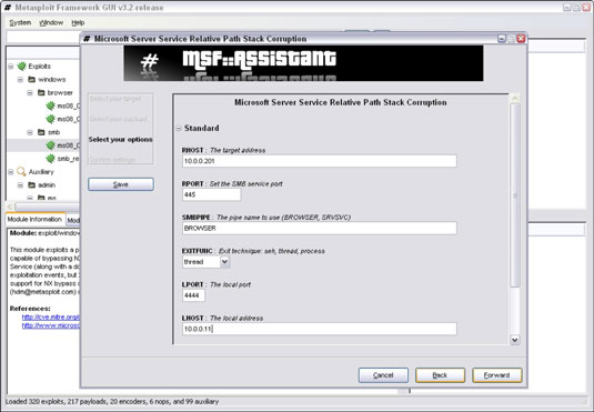 You can enter the IP address of the target system in Metasploit's screen.