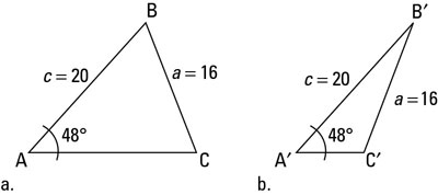 Two possible representations of an SSA triangle.