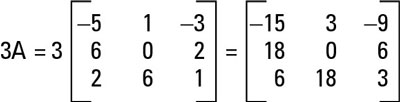 Multiplying matrix A by 3.