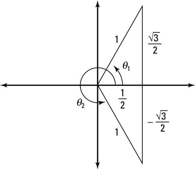 The two solution triangles in the unit circle.