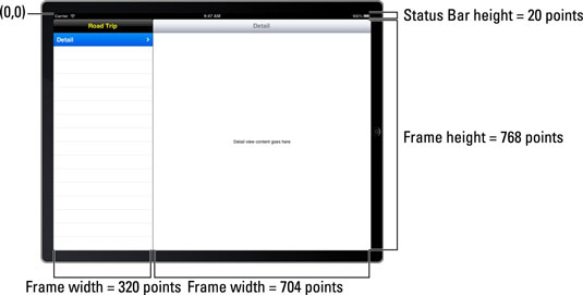 The coordinate system on an iPad screen (with a split view).