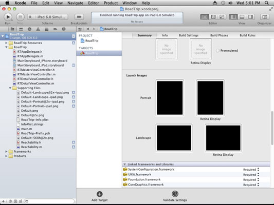The project navigator in Xcode.
