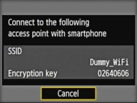 Dialog box with the settings to connect your smartphone to the camera's Wi-Fi network.