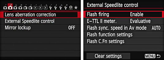 The External Speedlite Control menu on a Canon EOS 6D