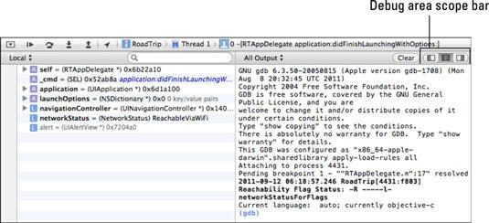 The debug area Scope bar in the iOS 6 app developer.