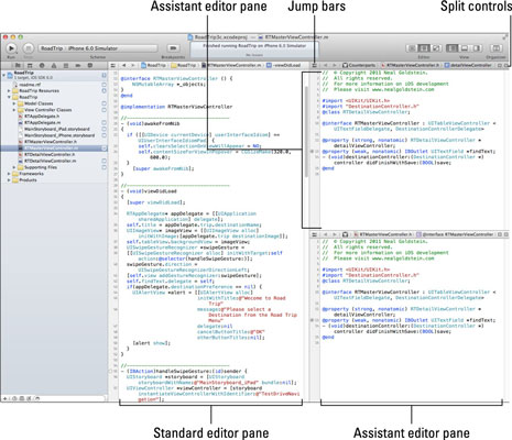 The source editor with Standard and Assistant editor panes.