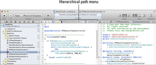 The Xcode workspace with the hierarchical path menu highlighted.