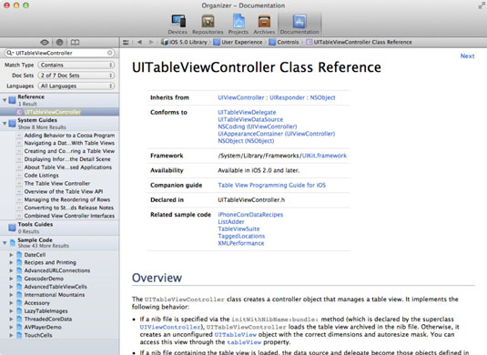 The class reference in the Organizer window.