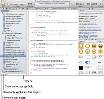The Symbol navigator in Xcode.