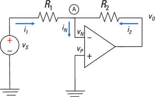 analyze inverting op amp circuits