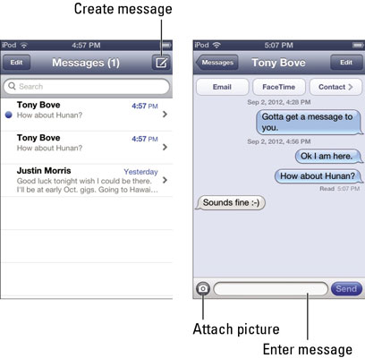 How to Use Your iPod Touch to Send Text Messages - dummies