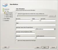 User Information tab in Microsoft Exchange's New Mailbox window.