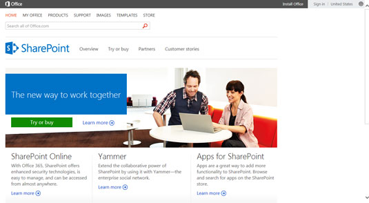 The main Microsoft SharePoint Website.