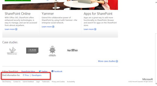 The Find Information section of the SharePoint website.