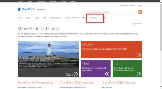 The SharePoint Tech Center website.