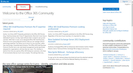 The Office 365 Community page.