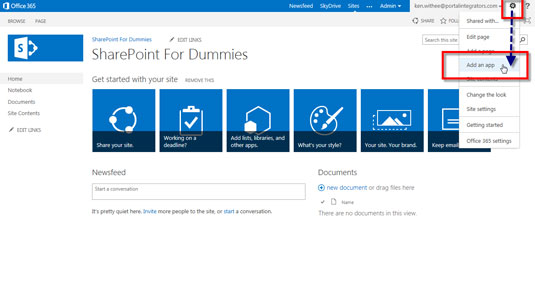 Selecting the Add an App tab in the Sharepoint 2013 settings menu.