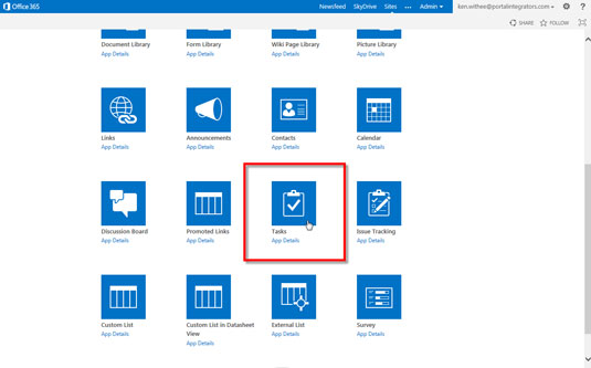 List of all the available apps in Sharepoint 2013.