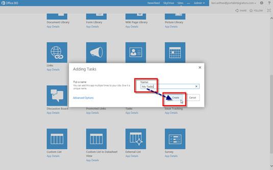 Adding Tasks dialog box on Sharepoint 2013.
