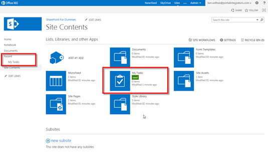 The site content section of Sharepoint 2013.