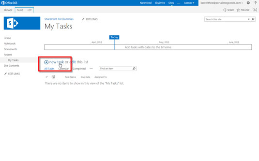 The Tasks app in Sharepoint 2013.