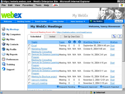 The MyWebex page of the Webex website has all of the scheduled meetings and user settings.